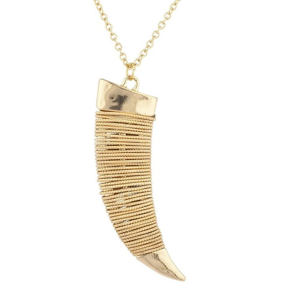 Lux Accessories Goldtone Hammered Wire Tusk Horn Long Pendant Necklace - CO17YS367U3