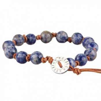 KELITCH Natural Sodalite Leather Bracelet