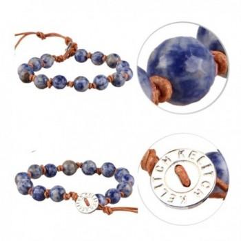 KELITCH Natural Sodalite Leather Bracelet in Women's Strand Bracelets