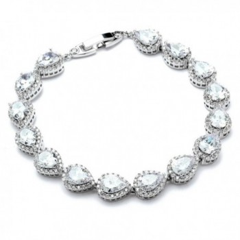 Mariell Tennis Bracelet Pear-Shaped Halo Cubic Zirconia - Platinum Plated - Bridal- Wedding & Special Occasion - C612MNL80HZ