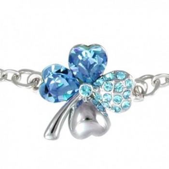 Four Leaf Clover Heart Shaped Swarovski Elements Crystal Rhodium Plated Chain Bracelet - Blue - CM1108EN1M9