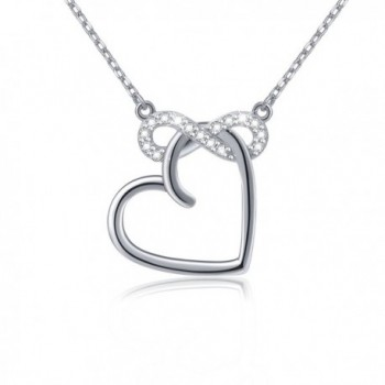 "S925 Sterling Silver Infinity Love Heart Cubic Zirconia Pendant Necklace- 18"" - CG12NT6IYDS"