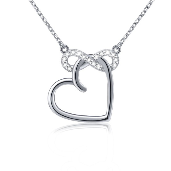 """S925 Sterling Silver Infinity Love Heart Cubic Zirconia Pendant Necklace- 18"""" - CG12NT6IYDS"""
