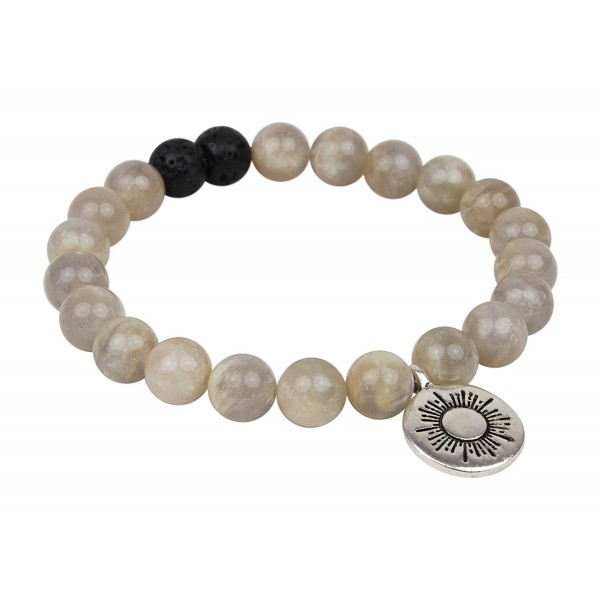 "Leboha ""Ray of Light Motherhood Series"" Fashion Grey Moonstone and Lava 8mm Essential Oil Bracelet- 7"" - CD18363UXUZ"