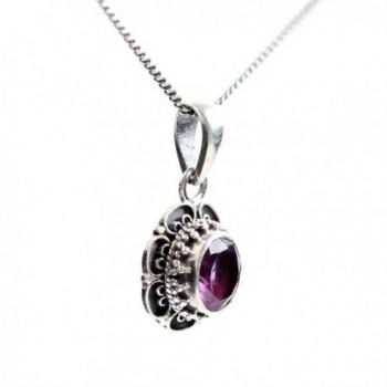 "Handmade Sterling Silver Genuine Amethyst Pendant Necklace 16""-18"" - C612O0FXA9T"