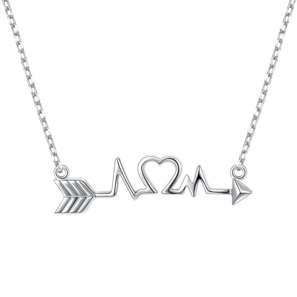 """925 Sterling Silver Arrow Heart Cardiogram Lifeline Pulse Heartbeat Pendant Necklace for Women18"""" - CS186T075Y5"""