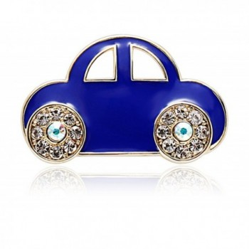 TUSHUO Simple and Elegant Blue Car with Charm Rhinestone Tyre Brooch - C018392DOC0
