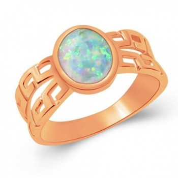 Yellow Gold Plated Sterling Silver Blue White Australian Opal Promise Ring Size 7 8 - Rose Gold White - CT186S3QQA6