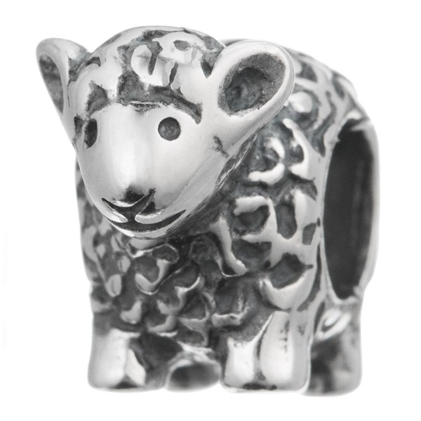 Antique 925 Sterling Silver Baby Lamp Sheep Bead For European Charm Bracelets - C017YUR55NW