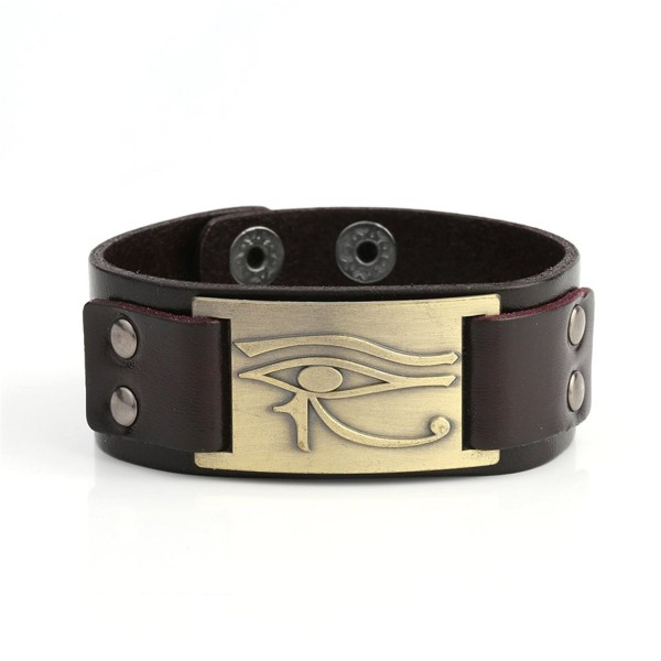 My Shape Eye of Horus Ra Thoth Udjat Leather Cuff Bracelet Egyptian Amulet Pagan Jewelry - Antique brass-Brown - CT185W7CMCT