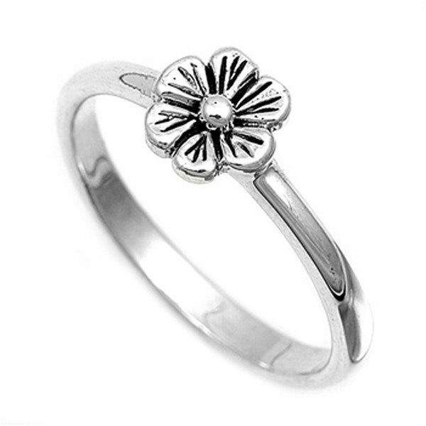 Sterling Silver Women's Simple Flower Ring Unique 925 Band 8mm New Sizes 4-12 - C311YOSX42H