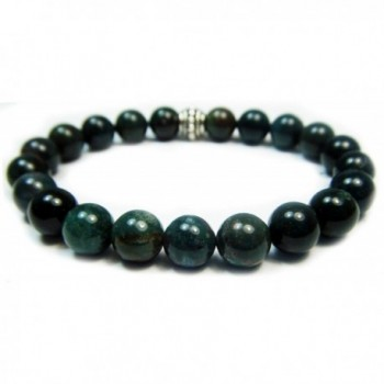 BLOODSTONE 8mm Round Genuine Crystal Gemstone Beaded Bracelet on Elastic Cord - CD12O41AKXN