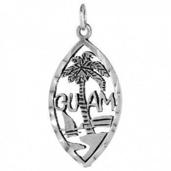 Sterling Silver Guam Word Pendant- 1 inch wide - CP115GOOXGT