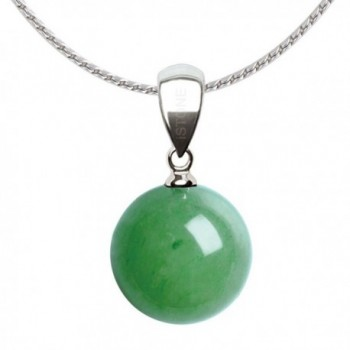iSTONE Natural Pear Shape Pendant Necklace Stainless Steel Chain 18 inch - Green Aventurine - CO186ADYWIG