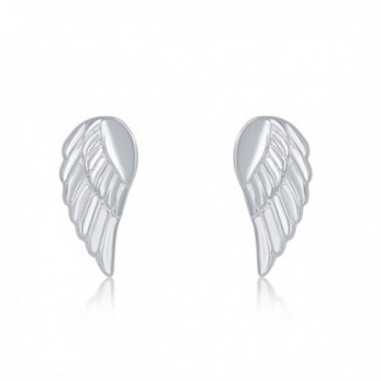Sterling Silver Small Angel Wing Stud Earrings - C212NT5HOLY