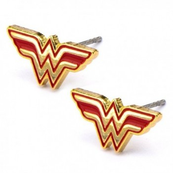 Official Stainless Steel Gold Tone Wonder Woman Logo Stud Earrings - C712DY6FCSX