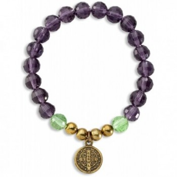 St Benedict Medal Pendant Bracelet with 7.5mm Amethyst Color Glass & Green Crystal Beads - CI11HC4FVK3