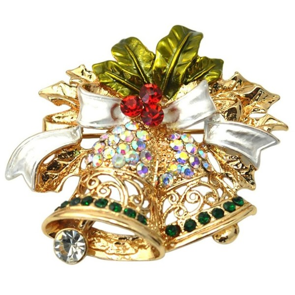 Christmas Brooches And Pins.Women S Elegant Christmas Lapel Pin Rhinestones Genuine Metallic Brooch Pins Holly Windbells Brooches Cq12g29ckzr