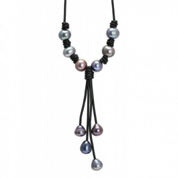 Aobei Cultured Dyed Peacock Blue Freshwater Pearl Leather Necklace Y Shaped for Teens 18 Inch - Black - CS17YEOK7RX