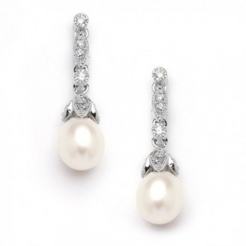 Mariell Genuine Freshwater Pearl Drop Earrings - Vintage Cubic Zirconia - Great for Brides or Bridesmaids - CR12H3L3F2Z