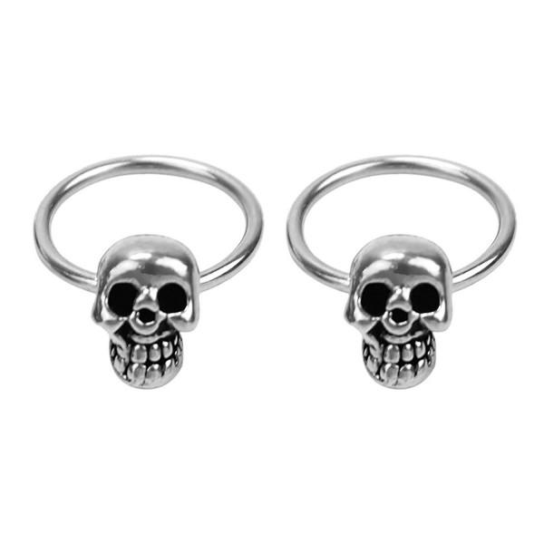1 Pair Women Girls Stainless Steel Skull Design Round Hoop Loop Earrings Jewelry - CL11XK0ZFQ3