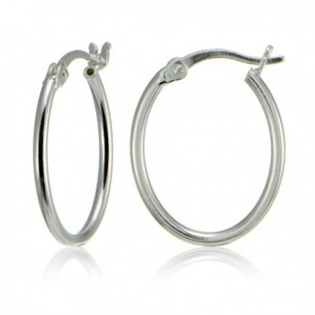 Sterling Silver High Polished Dainty Small Oval 20mm Hoop Earrings - CR1895YL6DQ