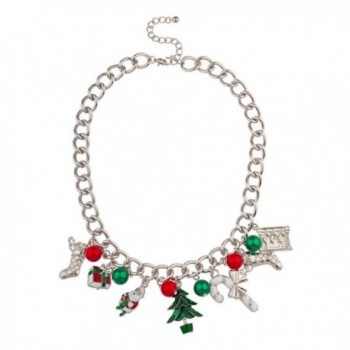 Lux Accessories Christmas Xmas Stocking Santa Claus Gift Tree Candy Cane Jingle Ball Statement Necklace. - CA11PW8RSB1