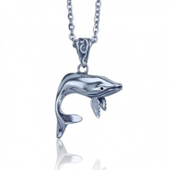 Whale Pendant in Sterling Silver on 18 Inch Stainless Steel Necklace - CK11DJDTLHP