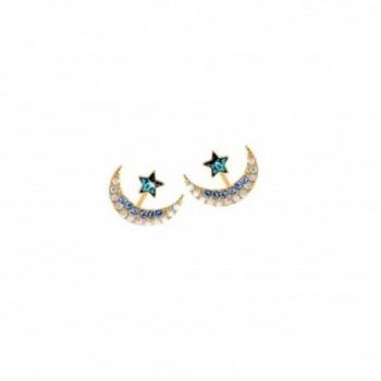 AnaZoz Jewelry Retro Women Stainless Steel Stud Earrings Crystal Cubic Zircon Moon Star for Women - Blue - CM12O9Y3D7D