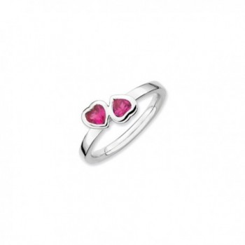 Sterling Silver Stackable Double Heart Created Ruby Ring - CL118CS6S9L
