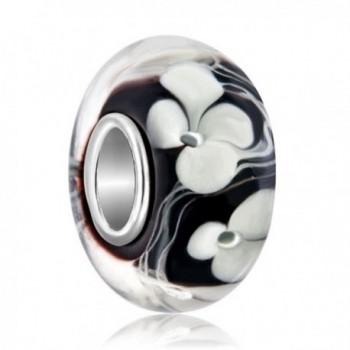 LovelyJewelry Sterling Silver Lampwork Bracelet - Black - CF12NGH9LJL