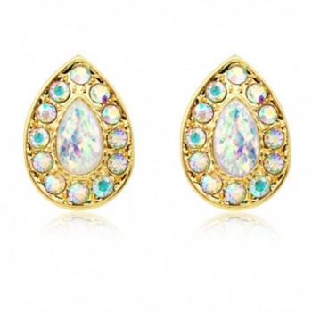 Gold Plated Faux Opal Avice Stud Earrings - CU187YUC6LW