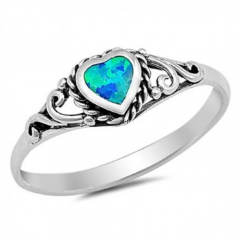 Sterling Antique Filigree Engagement AVAILABLE - Lab Created Blue Opal - CT17Y054ZED