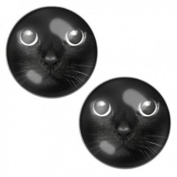 LilMents Cute Black Cat Face Mens Womens Stainless Steel Stud Earrings - CW12ET5BDKT