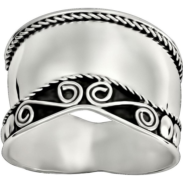 .925 Sterling Silver Wide Balinese Design Cocktail Ring - C711O283ETH