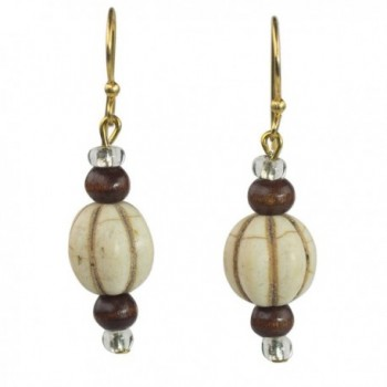NOVICA Brass Glass Wood Beaded Earrings 'Xoexe' - CY182HTILUE