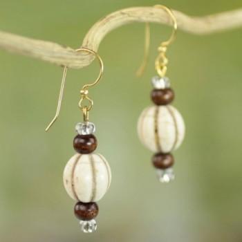 NOVICA Brass Glass Beaded Earrings in Women's Drop & Dangle Earrings