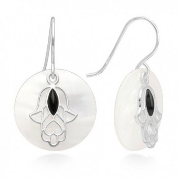 """Sterling Silver Hamsa Hand of Fatima Onyx Mother of Pearl Shell Disk Round Dangle Earrings 1.15"""" - CQ12DL2C7ER"""