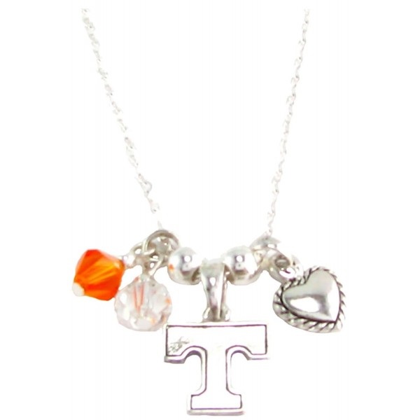 Tennessee Volunteers Orange Austrian Crystal Heart Silver Chain Necklace UT Vols - CW11R22TNQD