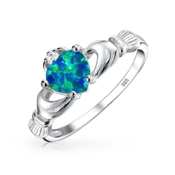 Celtic Heart Synthetic Blue Opal Claddagh Ring 925 Silver - C111PCMZ3N7