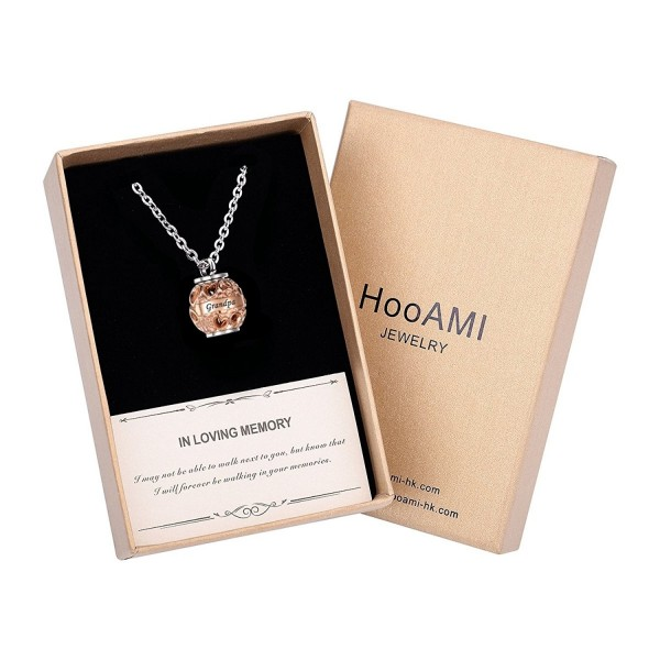 HooAMI Cremation Jewelry Memorial Necklace - Rose Gold-Gift Box - CW18544H9XD