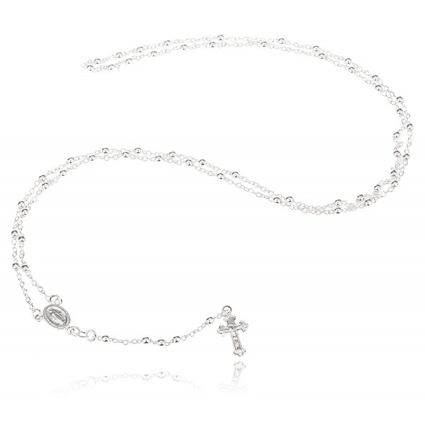 925 Sterling Silver 3mm 24 Inch Beaded Rosary Necklace with Dangling Cross (I-1520) - C211V0D41H1