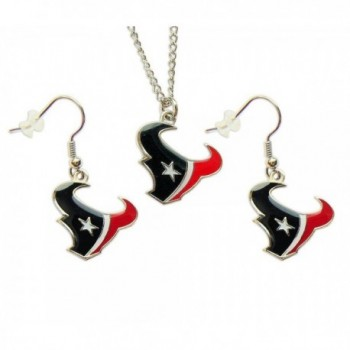 Houston Texans Necklace and Dangle Earring Charm Set NFL - C0117H705CT