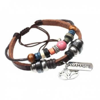 Namaste and Lotus Charm Genuine Leather Handcrafted Beaded Zen Bracelet in Gift Box - CJ12CJ90VXH