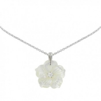 Les Poulettes Jewels - Silver Pendant Necklace Mother of Pearl Flower - C212JJ2SY2H