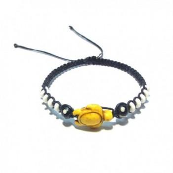 Turtle Hemp Bracelet - Hawaiian Sea Turtle Bracelet - Handmade Bracelet - Black Hemp Bracelet - Yellow - CO12EI1PFAH