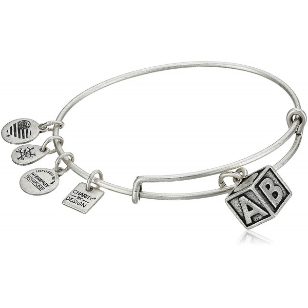 Alex and Ani Charity By Design Baby Block Bangle Bracelet - Rafaelian Silver - CR17YDQML97