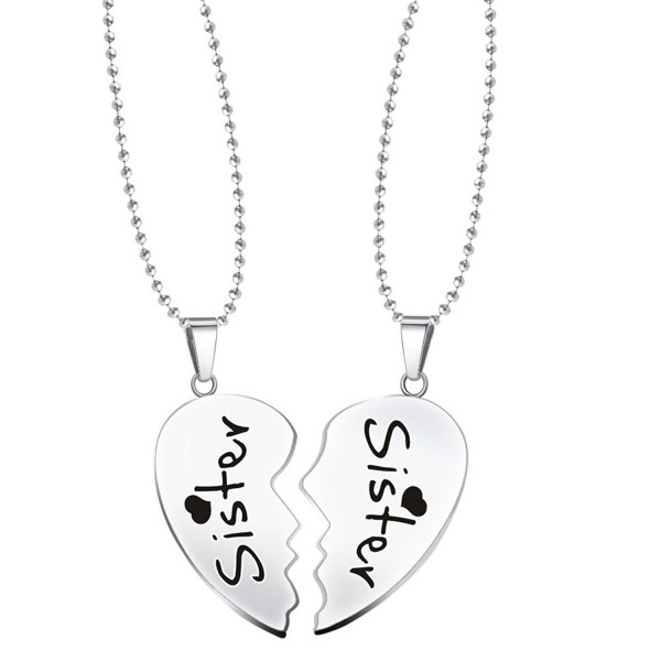 Paris Selection Sister & Sister 2 Piece Matching Magnetic Set of Split Hearts Necklace - CR12O9T5JRH
