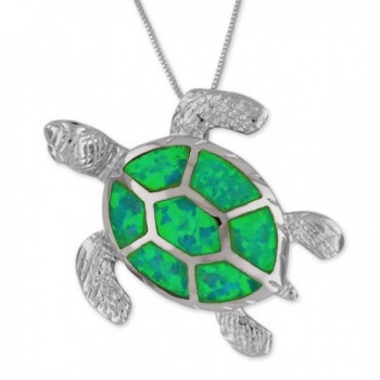 """Sterling Silver Synthetic Green Opal Turtle Pendant Necklace- 16+2"""" Extender - CK12D95XR81"""