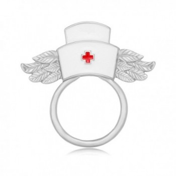 MANZHEN White Enamel Nurse Hat with Wings Brooch Magnetic Eyeglass Holder Nurse Gift - silver - CB18607DN67